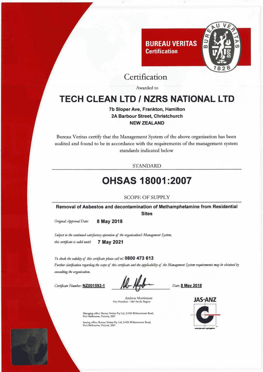 Tech Clean 18001 Certificate NZ001593-1