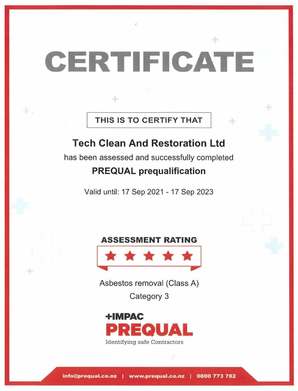   Qualifications   Prequal Certificate 17.09.2023