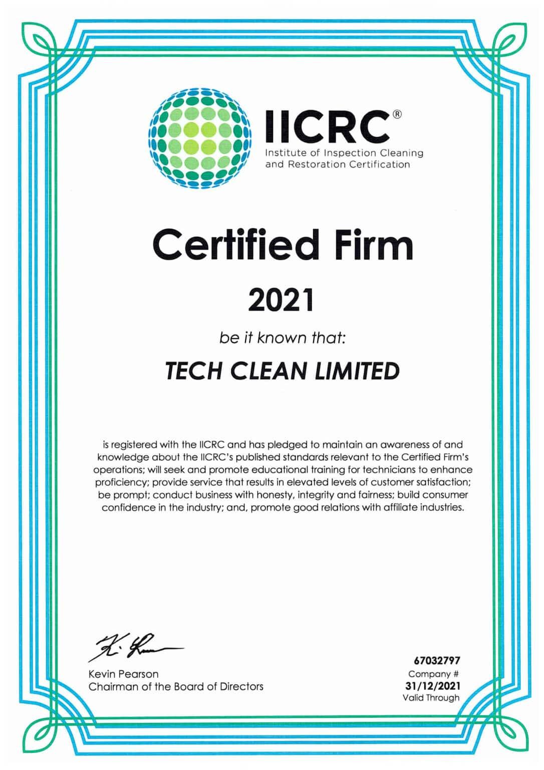 TechClean & Restoration  Qualifications  IICRC 2021